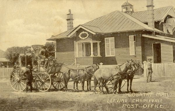 Country Mail Stagecoach leaving the Charleville Post Office in Queensland, Australia