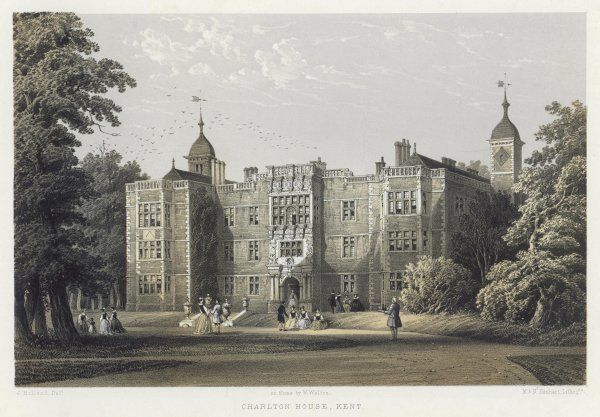 A superb view of Charlton House, then in Kent : the building is as it was in the 18th century, but the figures are not of any particular historical period