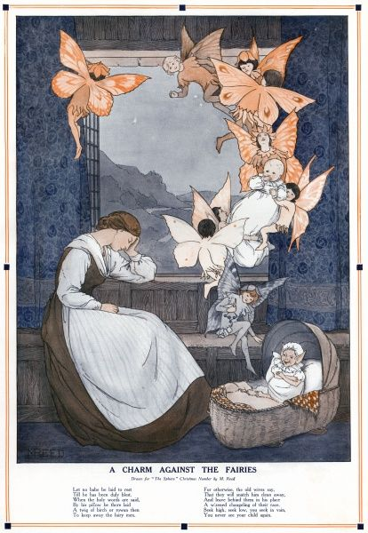 A rather alarming illustration (at least to any new parents) depicting a baby being spirited away by fairies who leave a 'wizened changeling of their race' in its place while its mother sleeps