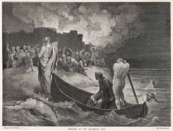 Charon ferries Dante and Virgil across the Styx, the river which separates this world of ours from the infernal regions
