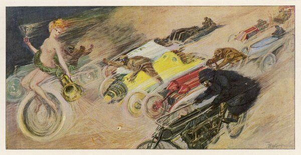 'THE CHASE !' A symbolic depicting of the immense enthusiasm for motor racing at this period when cars were still a novelty