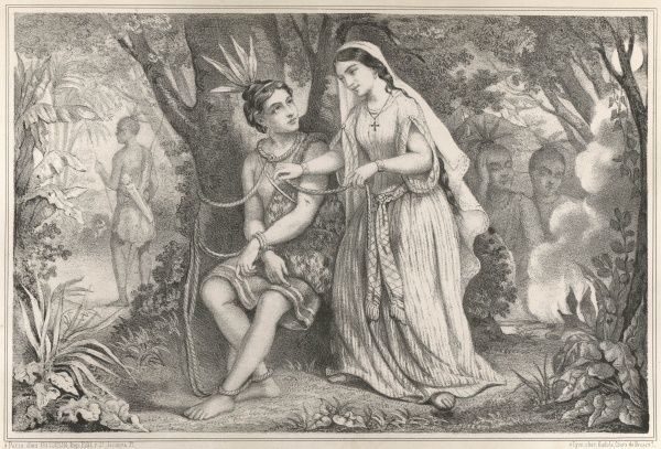 'ATALA' - the heroine, a princess with a Christian mother (note the cross), takes pity on the captured warrior Chactas, frees him and escapes with him into the jungle