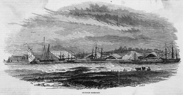 The naval dockyard on the Thames at Chatham, Kent