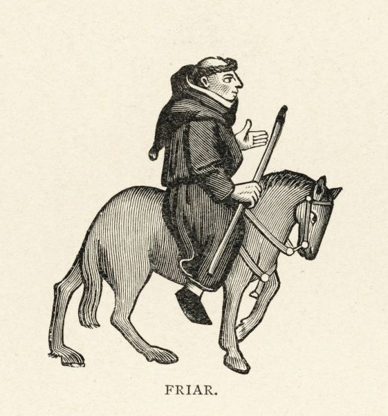 CHAUCER, THE FRIAR. The Friar carrying a staff