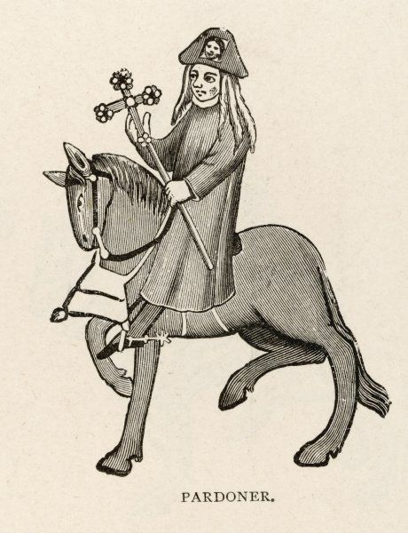 The Pardoner was a medieval cleric licensed to preach, and collect money in exchange for letters of indulgence; such letters were denounced by Chaucer among others