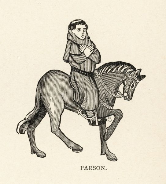 The Parson with tonsure and robes