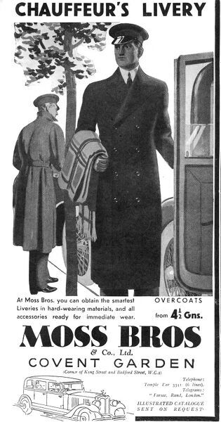 Advertisement for chauffeur's livery, available from Moss Bros of Covent Garden, London 'in hard-wearing materials with accessories ready for immediate wear'. Date: 1934
