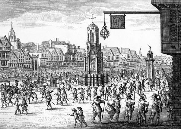 Cheapside, City of London: north-east view with Cross and Conduit, on the occasion of Mary de Medicis' visit to Charles I and Henrietta Maria Date: 17th century