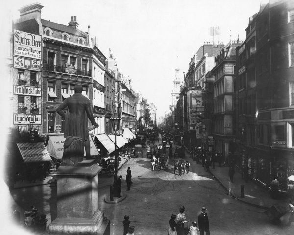 Cheapside, City of London: with traffic and pedestrians Date: circa 1900