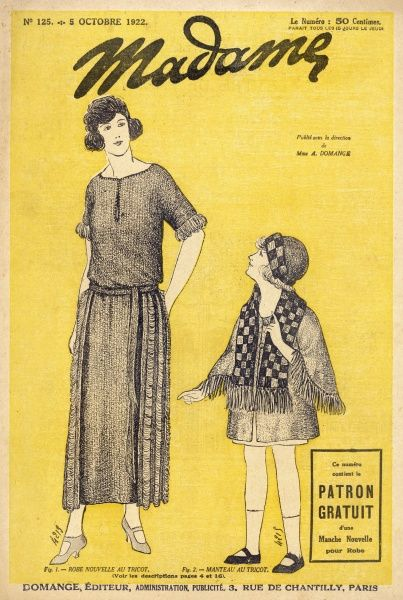 Dressmaking patterns: barrel- line dress with a bateau neck, decorative panels at the hips & a low slung belt; short coat with fringed sleeves, checkerboard coat & hat
