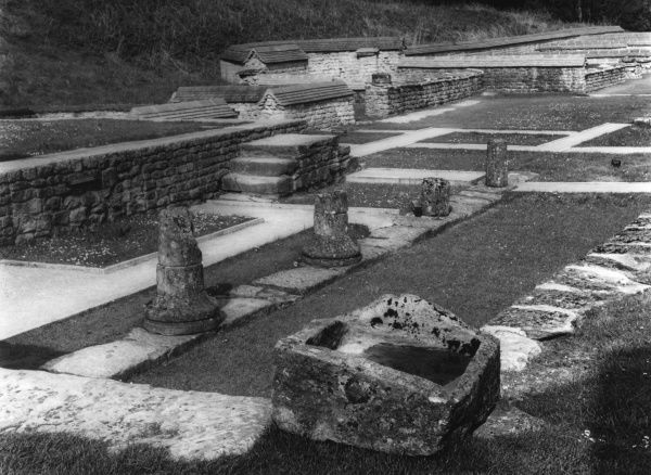The remains of the foundations of a Roman villa at Chedworth, Gloucestershire, England. 3rd - 4th century A.D. C.1950
