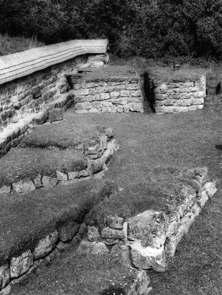 The remains of the foundations of the dining room of a Roman villa at Chedworth, Gloucestershire, England. 3rd - 4th century A.D. C.1950