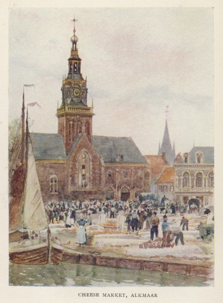 A cheese market in the town square, Alkmaar