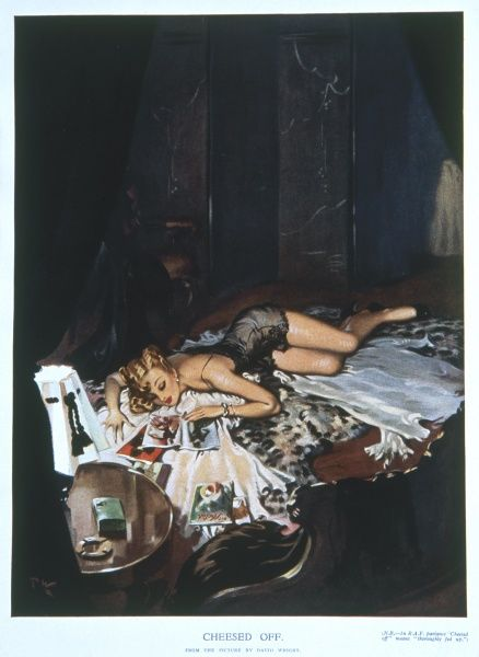 An illustration of a lady dressed in a negligee, flicking through magazines on her bed