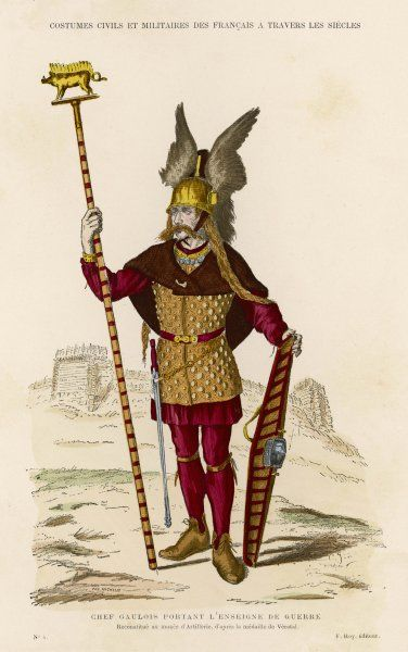 CHEF GAULOIS - Gallic chief - at the time of the war with Julius Caesar : dressed for the fight and carrying the standard of war