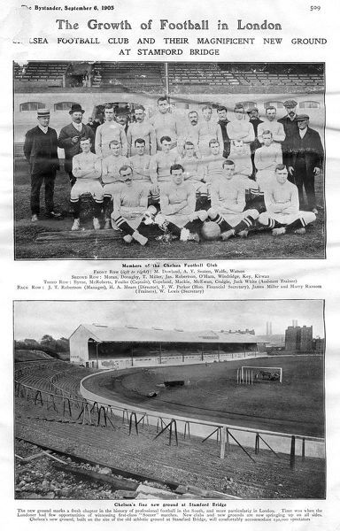 Chelsea Football Club, founded in March 1905. The top picture shows the squad of players and officials. The lower picture shows the ground at Stamford Bridge, which had previously been used as an athletics stadium. Date: September 1905