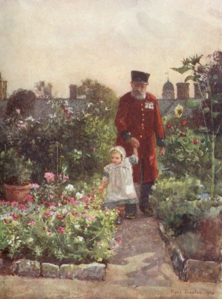 A Chelsea pensioner holds the hand of a young girl as they admire the flowers in the pensioners' garden, Royal Hospital, Chelsea