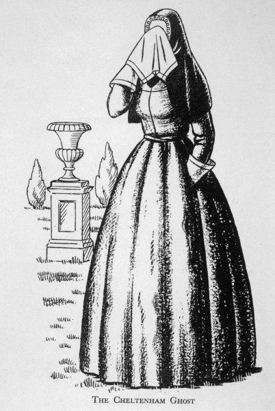 THE CHELTENHAM GHOST - figure of a woman, seen independently by 17 people, and tentatively identified as Imogen Swinhoe, the unhappy wife of the house's first owner