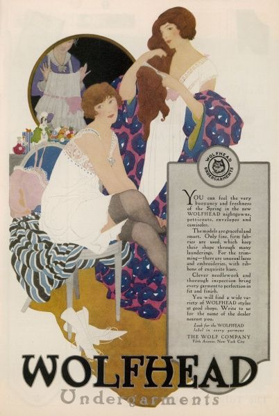 WOLFHEAD UNDERGARMENTS: a lady in black stockings wears an Empire chemise with a lace yoke, her friend wears a nightdress, while the maid brings in a tiered under-skirt
