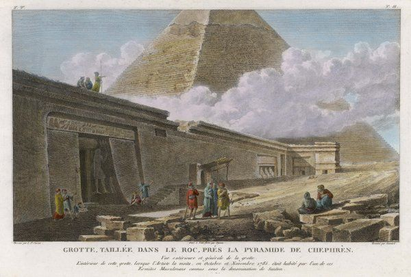 The Chephren pyramid and a cave (contaning a bas-relief) which was inhabited, until October/November 1785, by the 'Santon' denomination of Ermite (hermit) Muslims