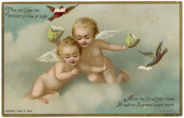 Two cherubs in the clouds