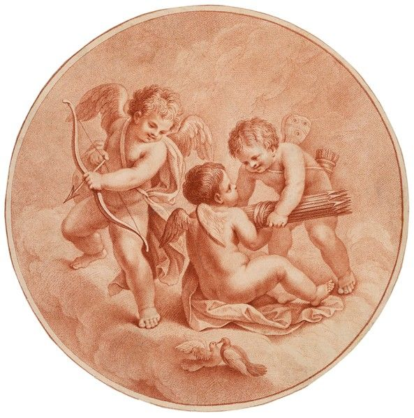 A trio of cherubs cupids prepare to go hunting with their bows and arrows