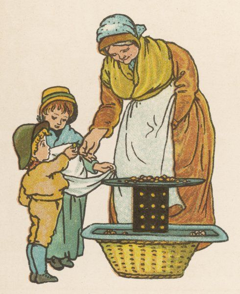 The chestnut woman sells hot roasted chestnuts at ten a penny to two small children