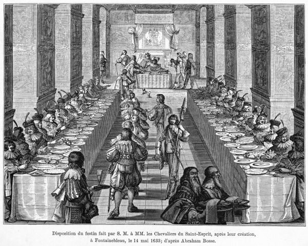 Louis XIII appoints new chevaliers du Saint-Esprit, at Fontainebleau after the formal ceremony, they are invited to a banquet