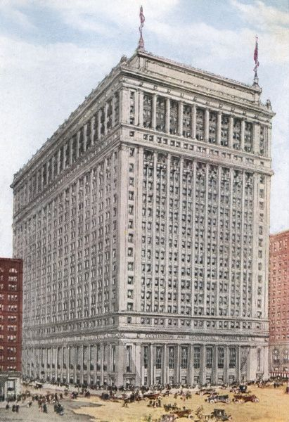 American banks are not like your High Street Barclay's : this is Chicago's New Continental and Commercial National Bank which will cost 6 million dollars in 1916. Date: 1916