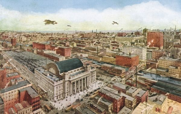 Chicago's business district : the Chicago and Northwestern Railway terminus in the foreground. Date: 1916