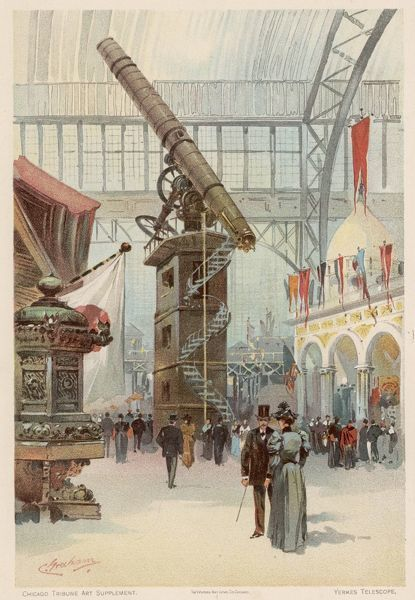 The Yerkes telescope is an impressive exhibit at the Chicago Exhibition, 1893