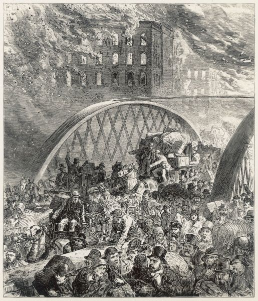 At Chicago, this picture shows citizens trying to escape by way of the Ike Randolph Street Bridge