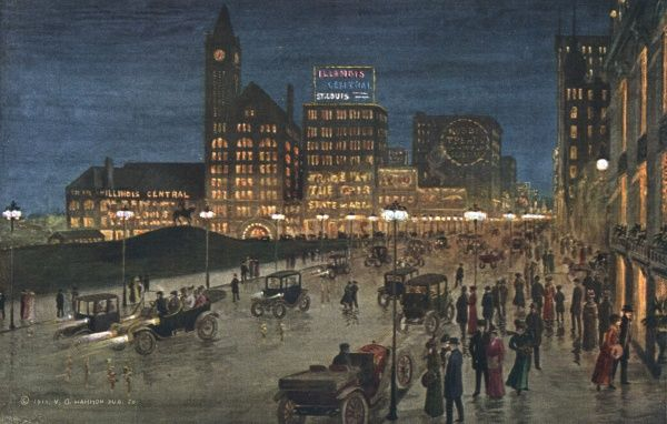 Michigan Boulevard at night. The street borders lake Michigan and is lined with hotels and other major buildings, making it a popular night-time rendezvous. Date: 1916
