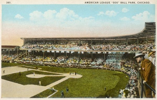 The American League Sox Ball Park in Chicago, America. Located at 35th and Shields Avenue, it had a seating capacity of 35,000