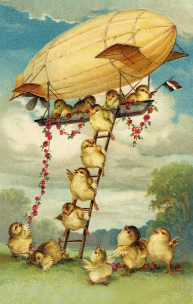 Chicks descend from an airship by ladder