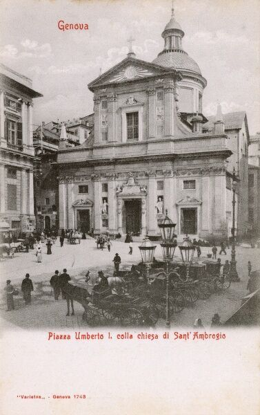 Umberto I Piazza and the Church of St Ambrose - Genoa, Italy Date: circa 1910