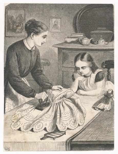 The ironing lesson - a little girl helps her mama with the ironing
