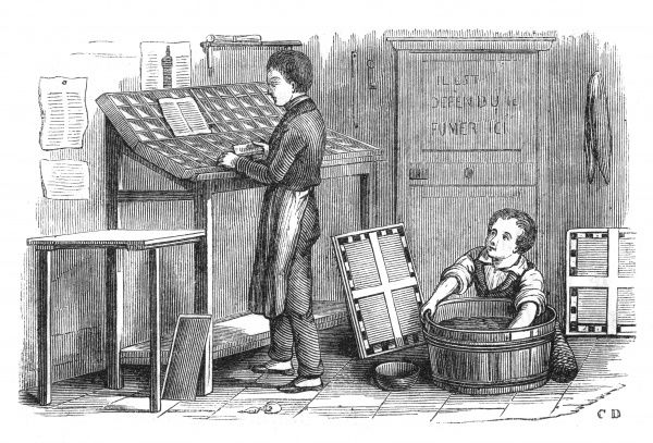 Printer's devil in France using child labour 1841