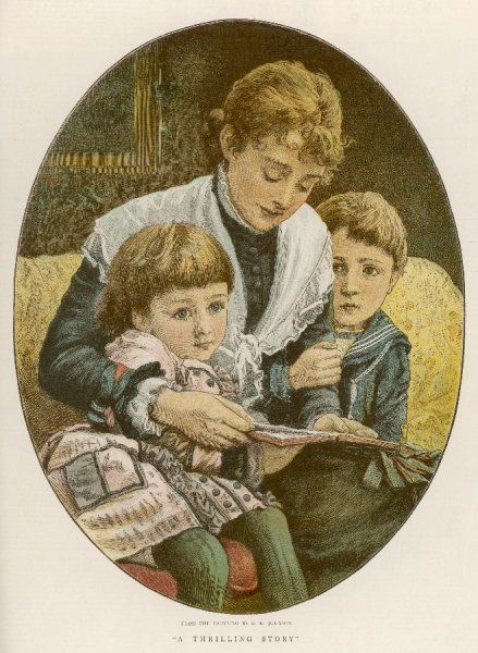 The children listen while Mama reads to them
