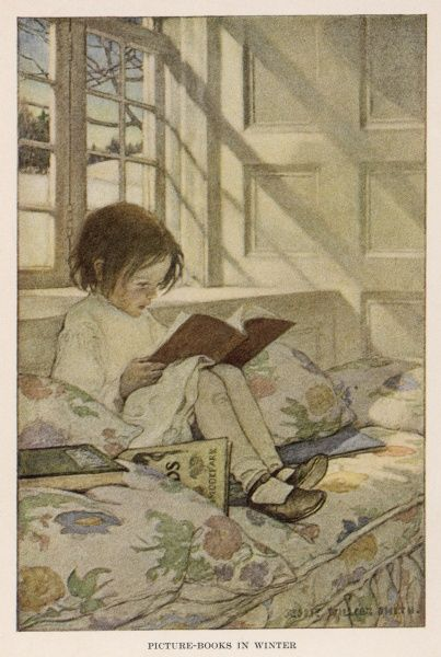 'PICTURE BOOKS IN WINTER' a girl sits in the window-seat reading, while outside snow is everywhere