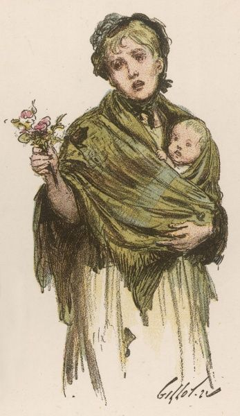 A London street girl with a small baby selling flowers