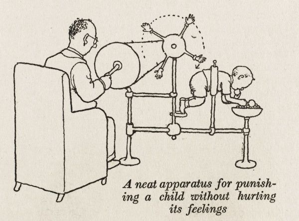 A neat apparatus for punishing a child without hurting it's feelings! The child is suspended, backside protruding while a mechanical hand, or four to be precise, is turned manually via a wheel and chain