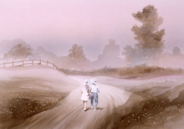 A boy and girl walk down a misty country lane into the middle distance. The atmospheric mood is one of calm and serenity. Painting by Malcolm Greensmith