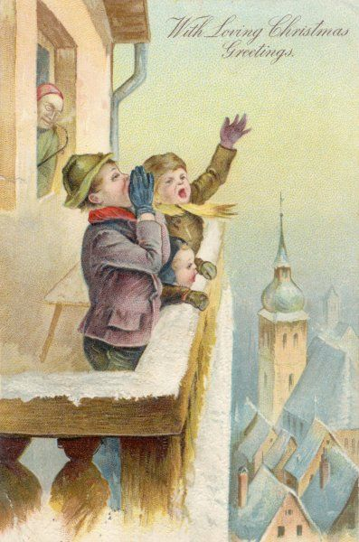 Three boys on a high balcony shout their Christmas greetings for the whole town to hear