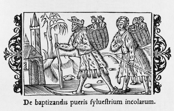 A Scandinavian couple on skis take their children to the church to be baptised : due to the long journey, they take them in batches, carrying them on their backs in baskets