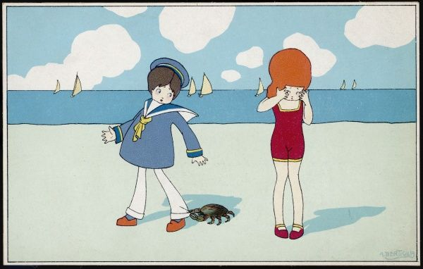 Children on the beach - a boy in a sailor suit has his trousers bitten by a crab