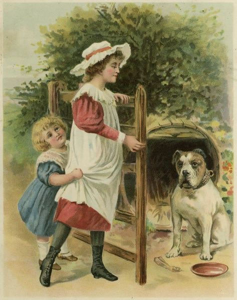 Two children pass nervously through a gateway, guarded by a bulldog whose kennel is a barrel.  1890s