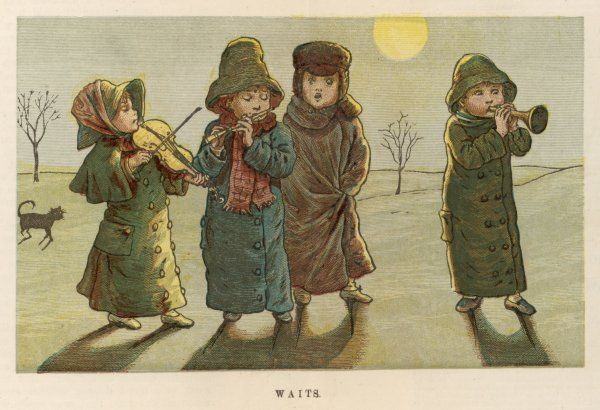 Four children sing carols by moonlight, accompanying themselves on music instruments