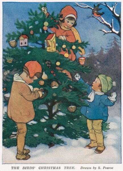 Illustration by Susan Beatrice Pearse (1878-1980) showing three children decorating a Christmas tree
