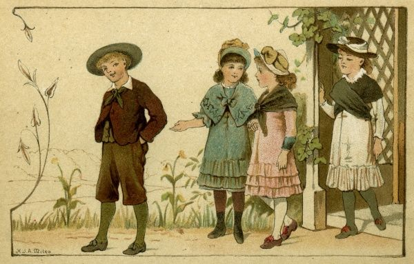 Three girls and a boy going out for a country walk. Date: 1883